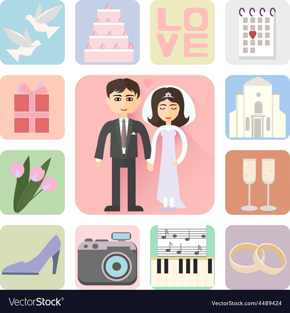 Wedding icons flat style vector | Price: 1 Credit (USD $1)