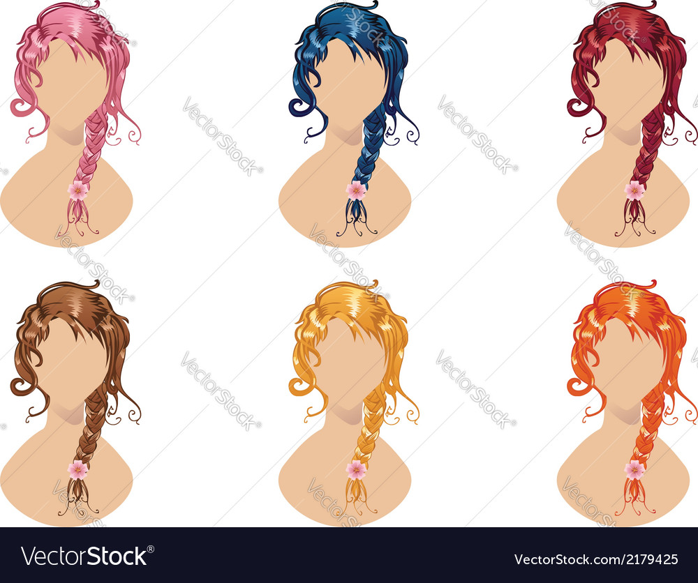 Braided hair style vector | Price: 1 Credit (USD $1)