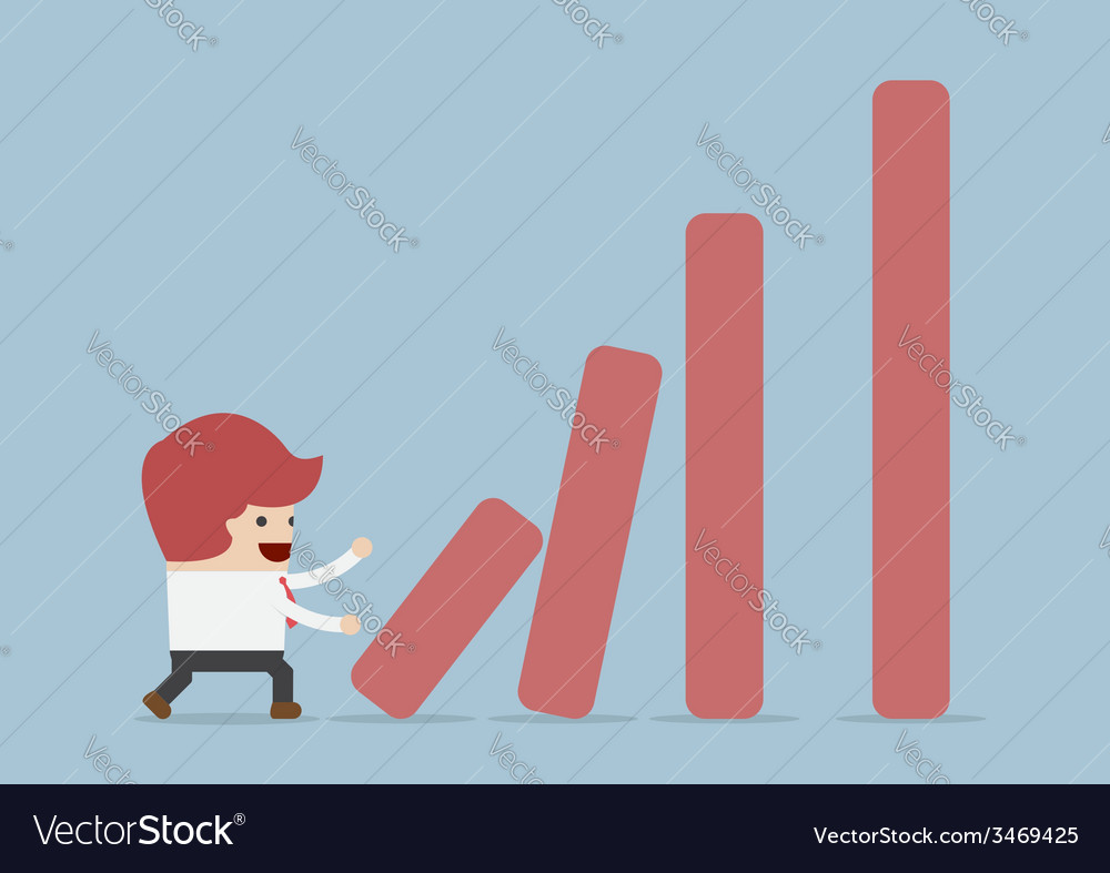 Businessman pushing bar graph dominoes effect con vector | Price: 1 Credit (USD $1)