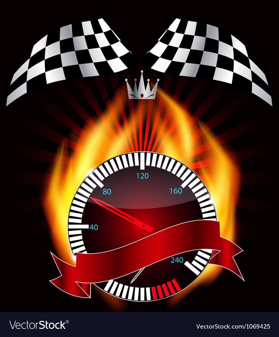 Checkered flag speedometer vector | Price: 1 Credit (USD $1)