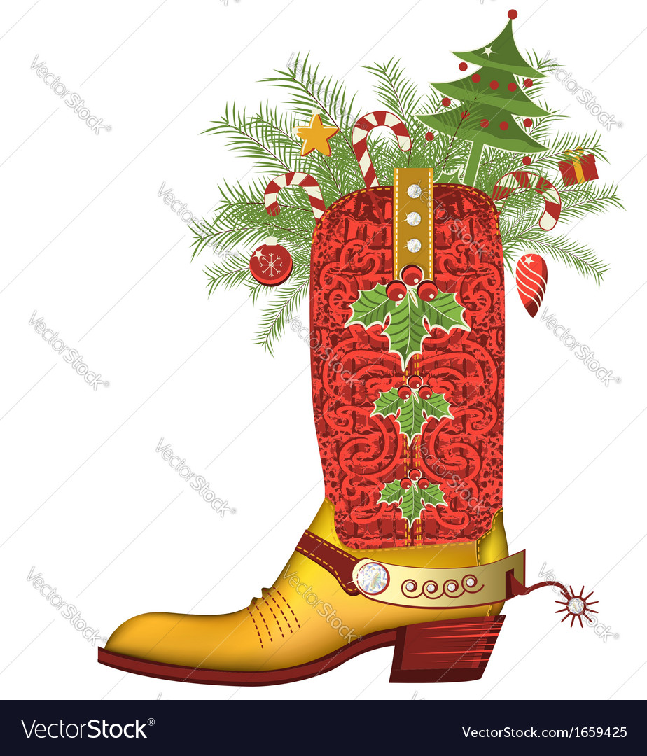 Christmas cowboy bootluxury shoe isolated on white vector | Price: 1 Credit (USD $1)