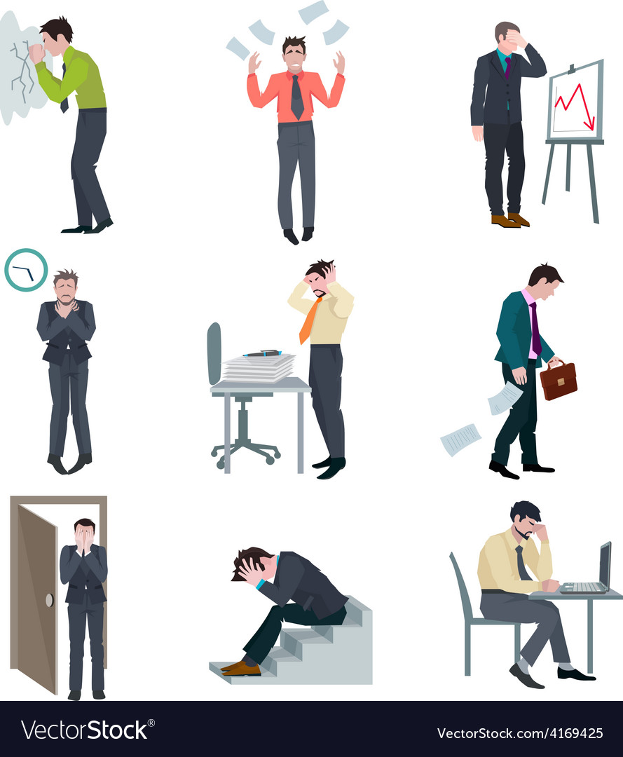 Failure business set vector | Price: 1 Credit (USD $1)