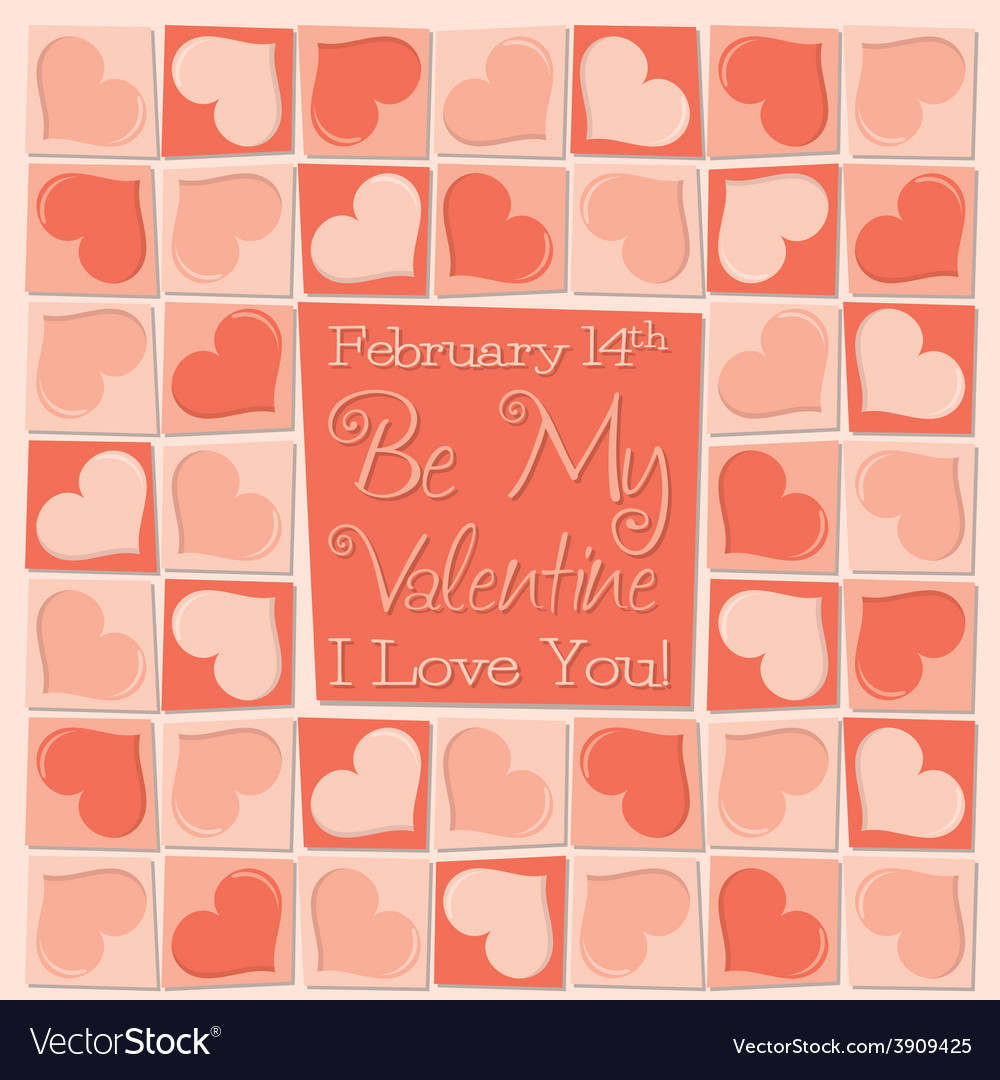 Funky mosaic love heart valentines day card in vector | Price: 1 Credit (USD $1)