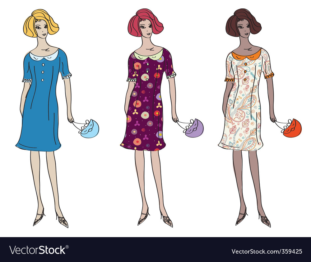 Girls in dresses vector | Price: 1 Credit (USD $1)