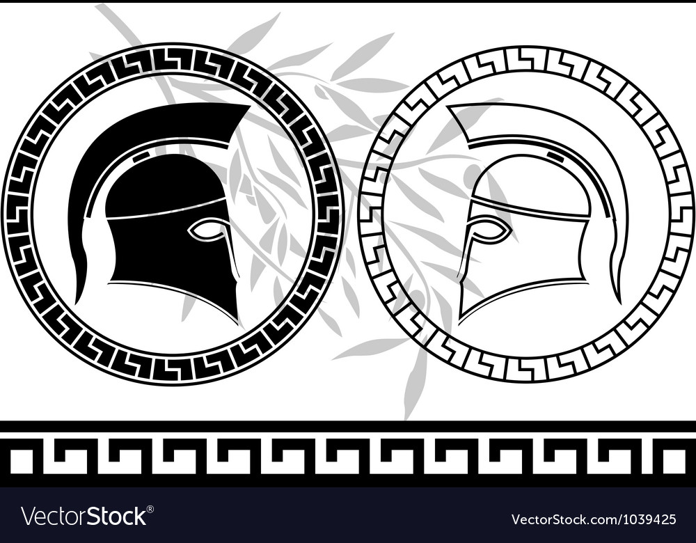 Hellenic helmets and olive branch vector | Price: 1 Credit (USD $1)