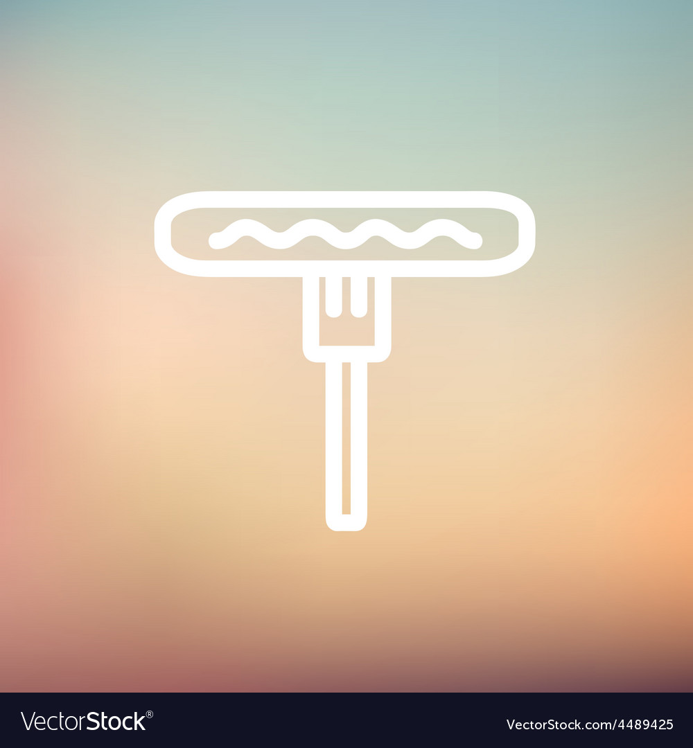 Hotdog on the fork thin line icon vector | Price: 1 Credit (USD $1)