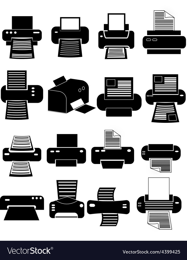 Printer icons set vector | Price: 1 Credit (USD $1)