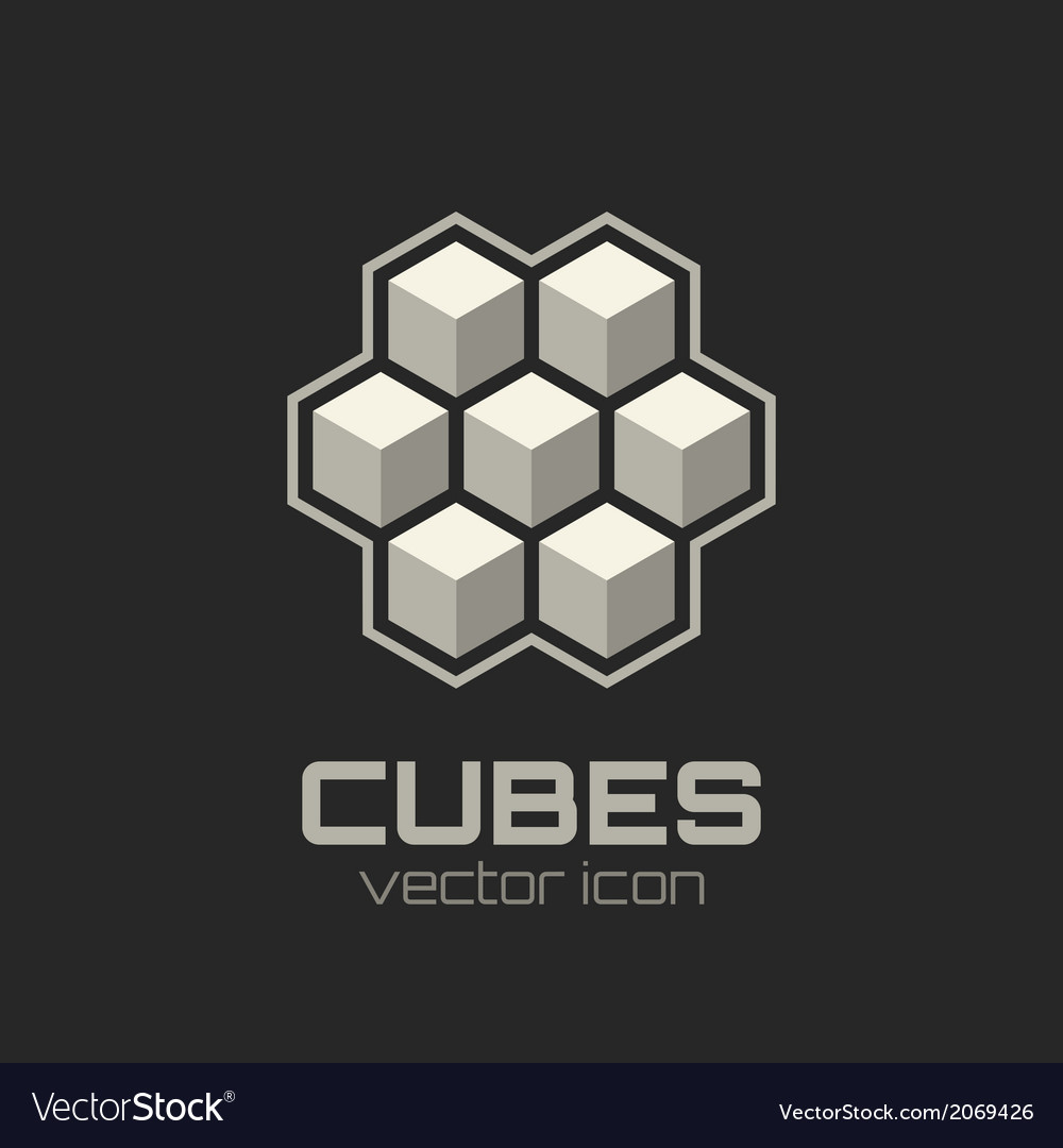 Abstract icon with 3d cubes vector | Price: 1 Credit (USD $1)