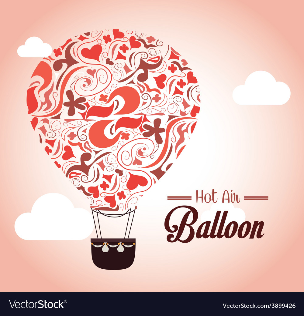 Air balloon over pink background vector | Price: 1 Credit (USD $1)