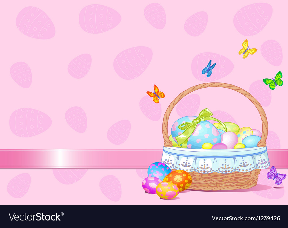 Easter basket background vector | Price: 1 Credit (USD $1)