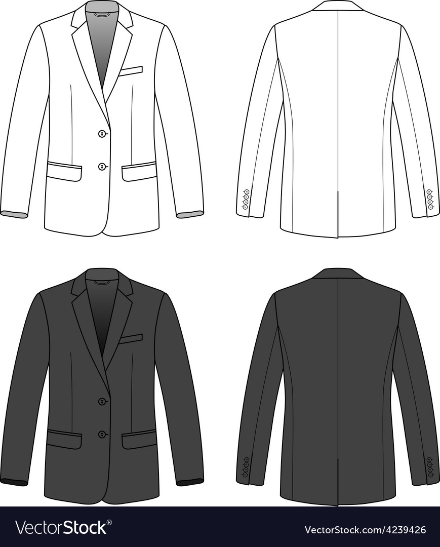 Front back and side views of blank blazer vector | Price: 1 Credit (USD $1)