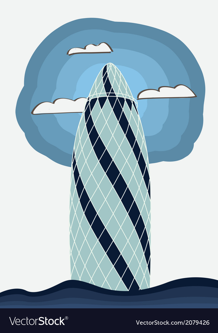 The gherkin building london vector | Price: 1 Credit (USD $1)