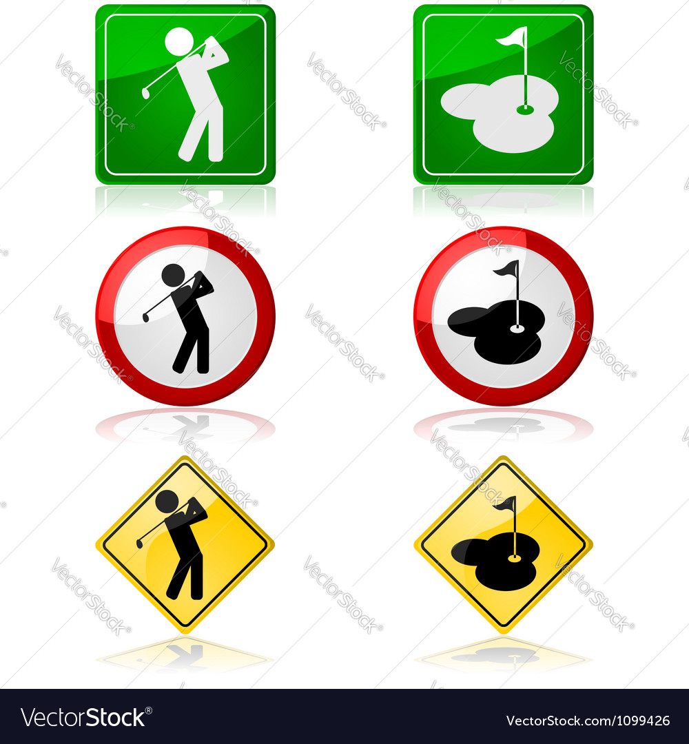 Golfing signs vector | Price: 1 Credit (USD $1)