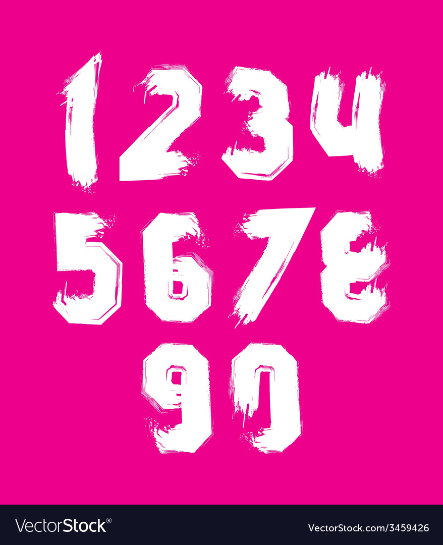 Hand drawn stroked numerals collection of unusual vector | Price: 1 Credit (USD $1)