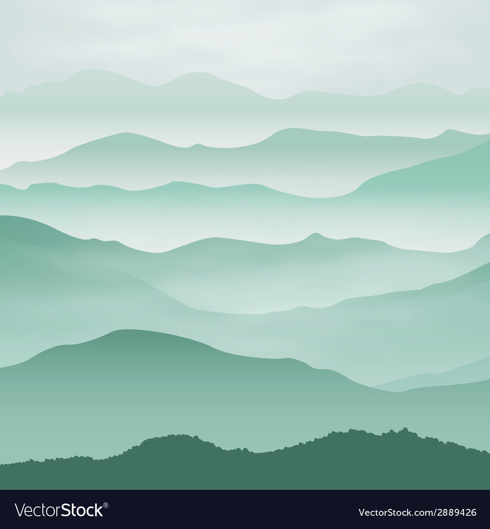 Mountains in the fog vector | Price: 1 Credit (USD $1)