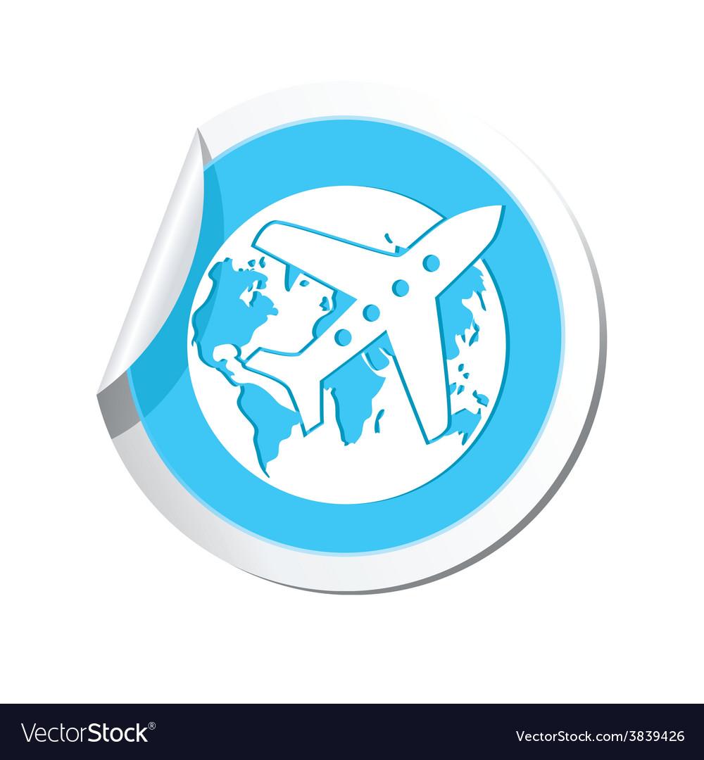 Plane and globe blue label vector | Price: 1 Credit (USD $1)