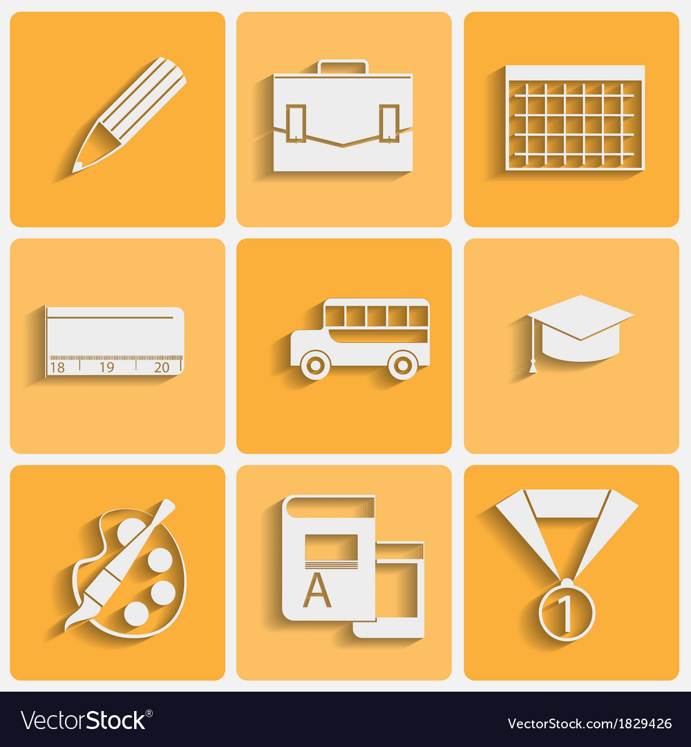 School theme icons set vector | Price: 1 Credit (USD $1)