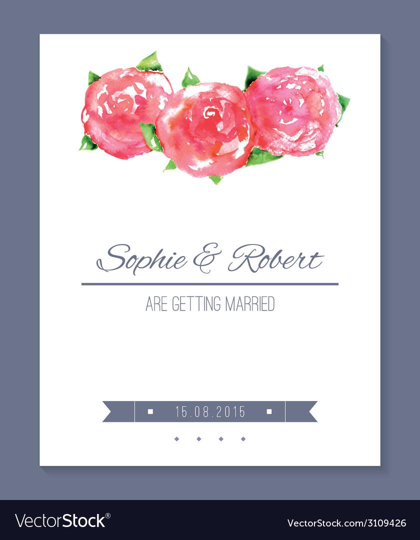 Watercolor wedding card vector | Price: 1 Credit (USD $1)
