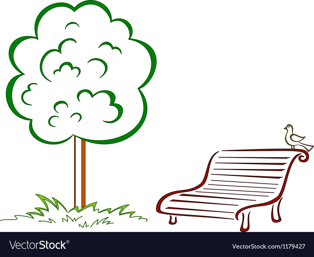 Bird park bench green tree vector | Price: 1 Credit (USD $1)