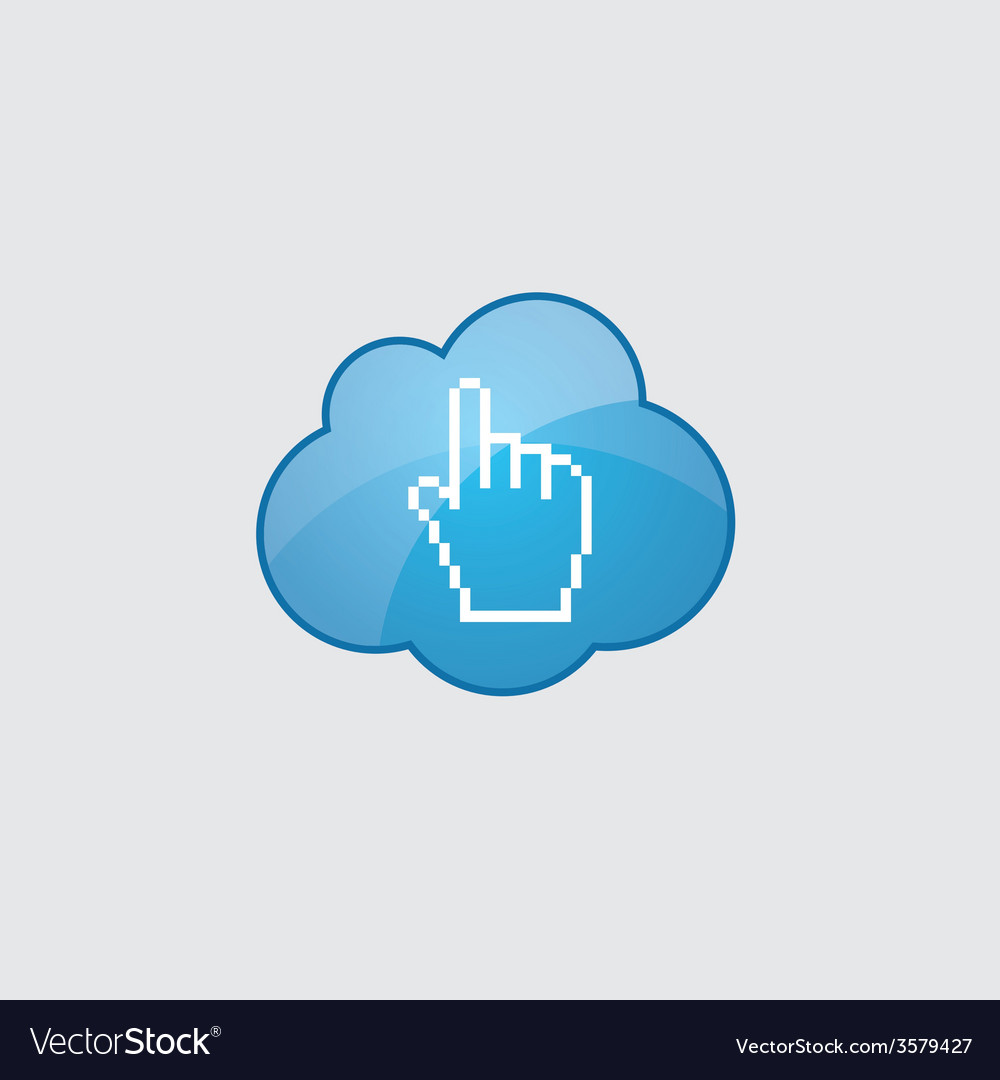 Blue cloud pointer pixel cursor icon vector   Price: 1 Credit (USD $1)