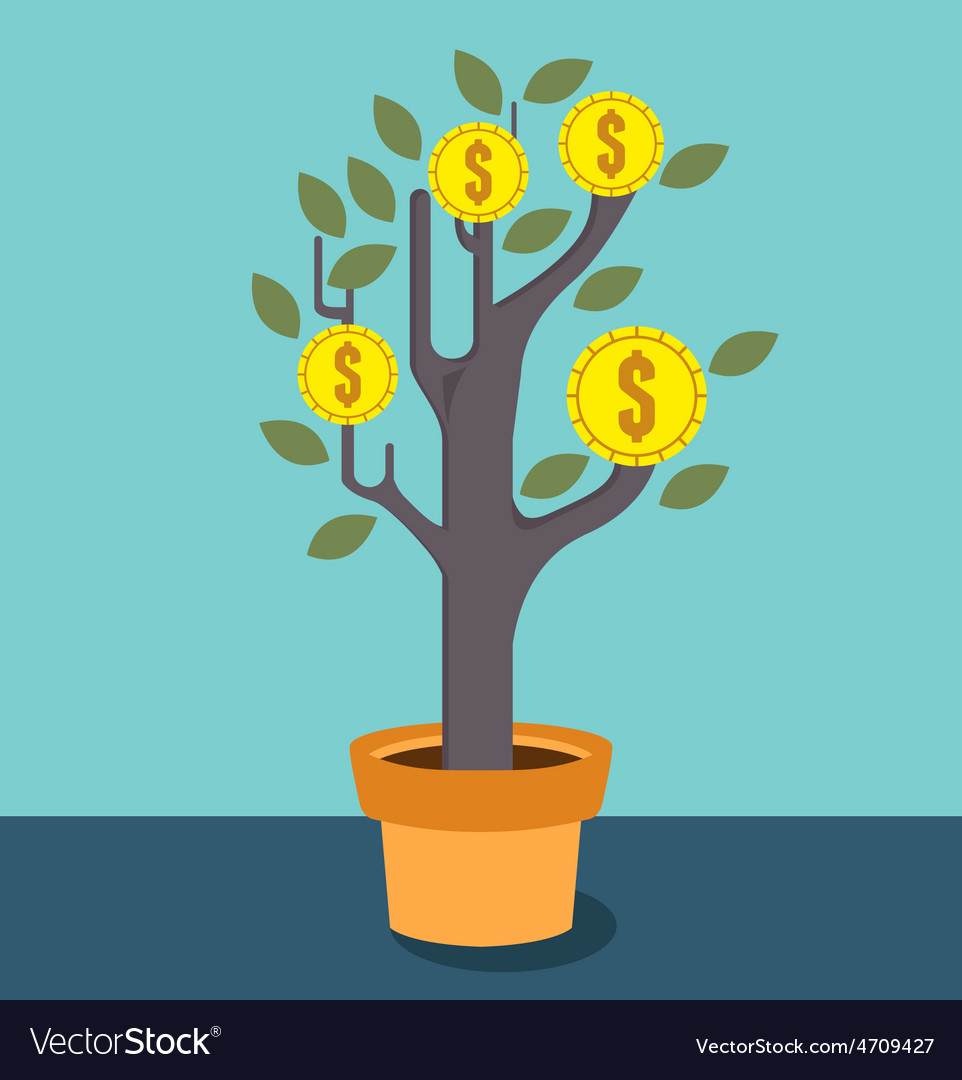 Business optimization tree with money vector | Price: 1 Credit (USD $1)