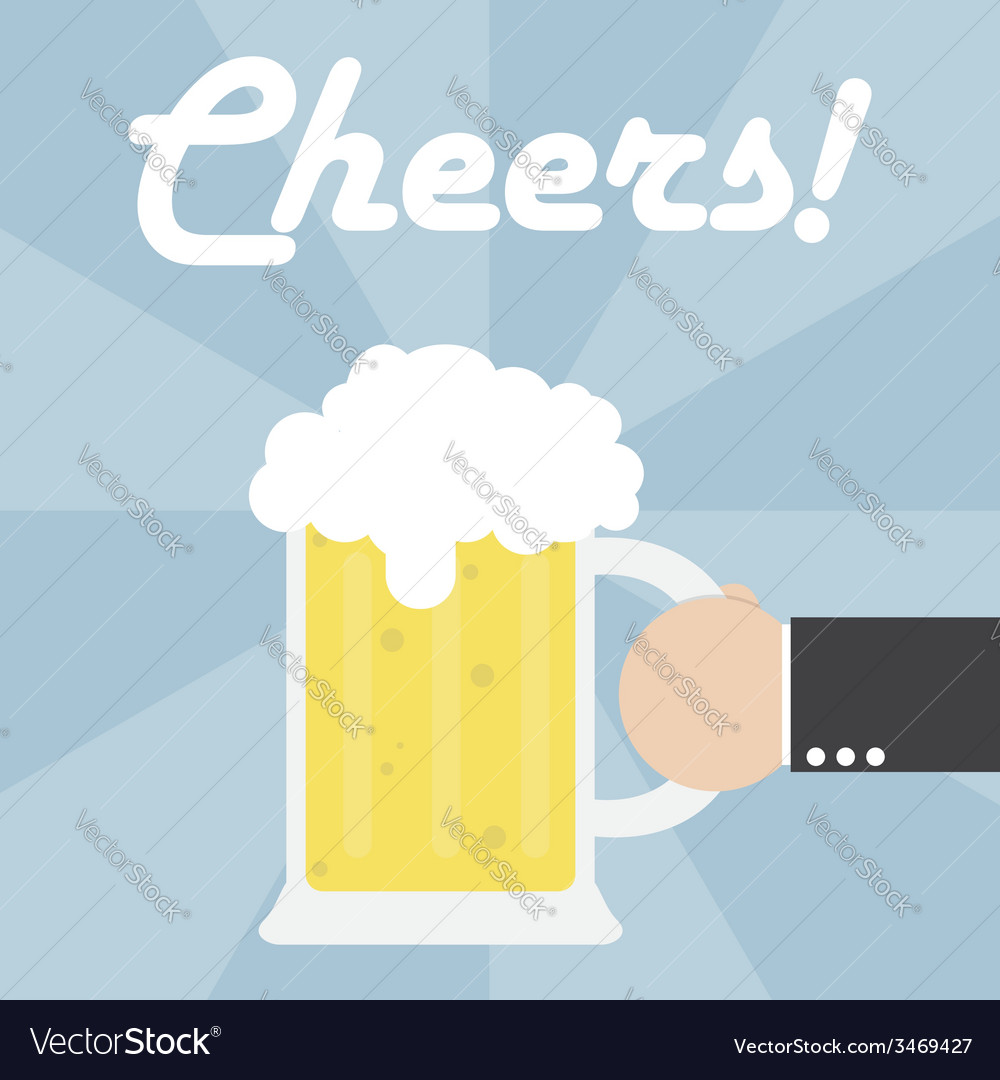 Businessman hand holding beer mug vector | Price: 1 Credit (USD $1)