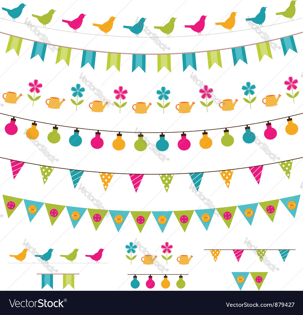 Colorful bunting and garland set vector | Price: 1 Credit (USD $1)