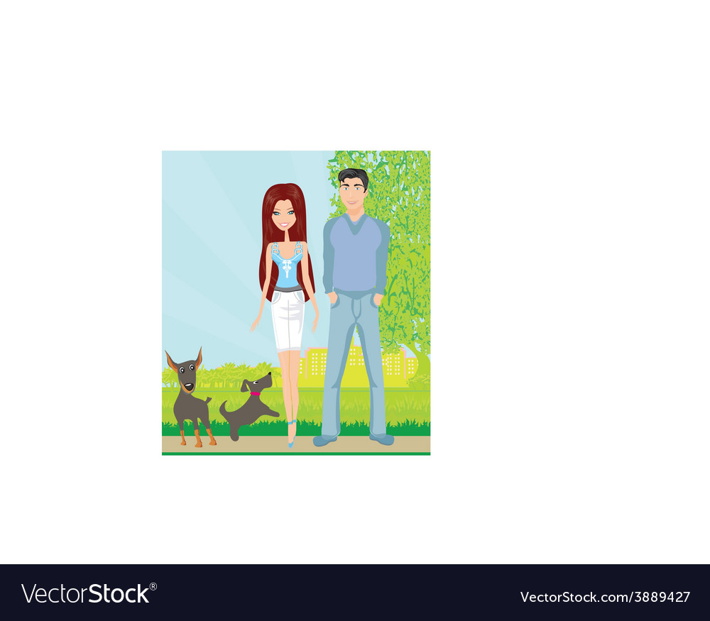 Couple on a walk with the dogs vector | Price: 1 Credit (USD $1)