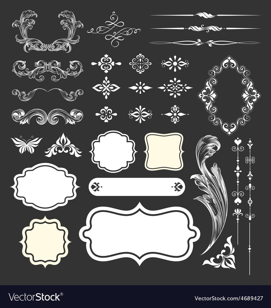Decorative vintage elements and frames set vector | Price: 1 Credit (USD $1)