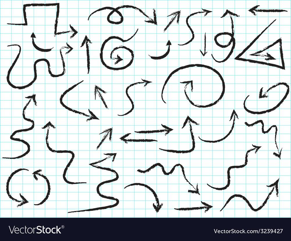 Doodle hand drawn arrows set vector | Price: 1 Credit (USD $1)
