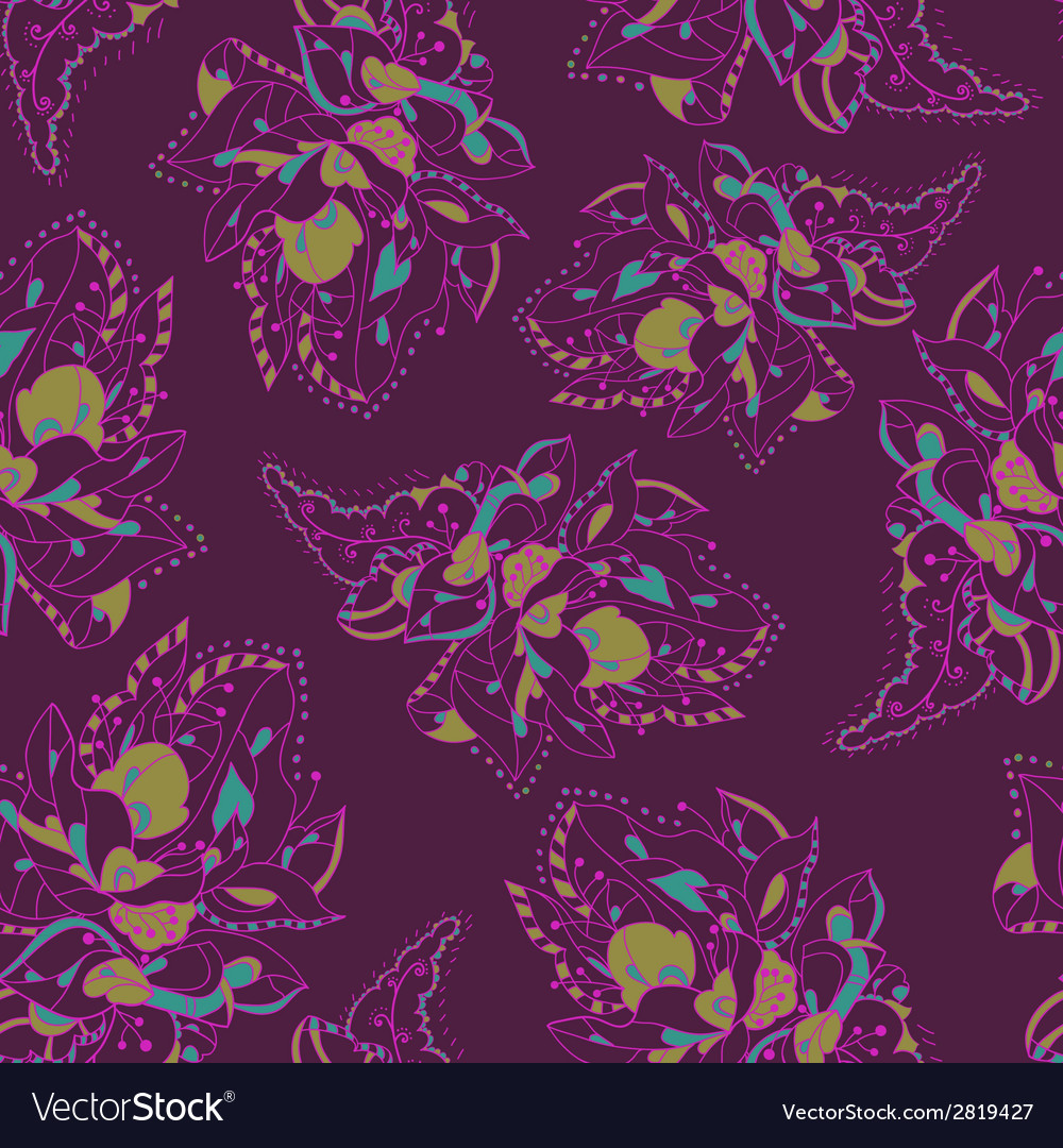 Elegant pattern with abstract flowers lacy pattern vector | Price: 1 Credit (USD $1)