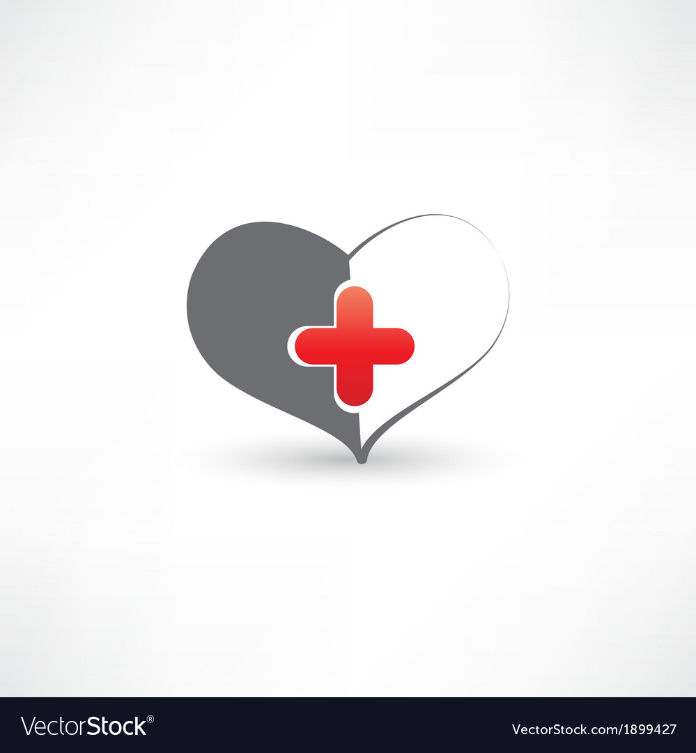 Grey heart and medical cross vector | Price: 1 Credit (USD $1)