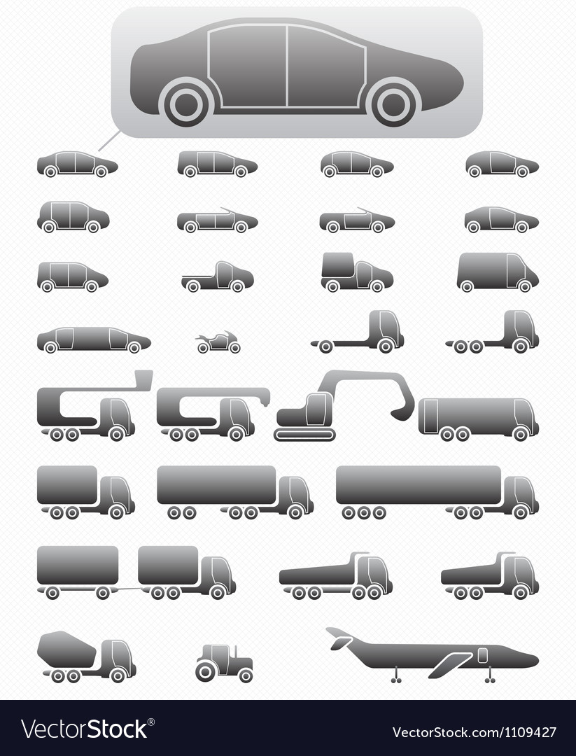 Icon set vehicles vector | Price: 1 Credit (USD $1)