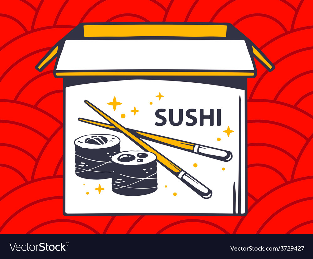 Open box with icon of sushi on red patte vector | Price: 1 Credit (USD $1)