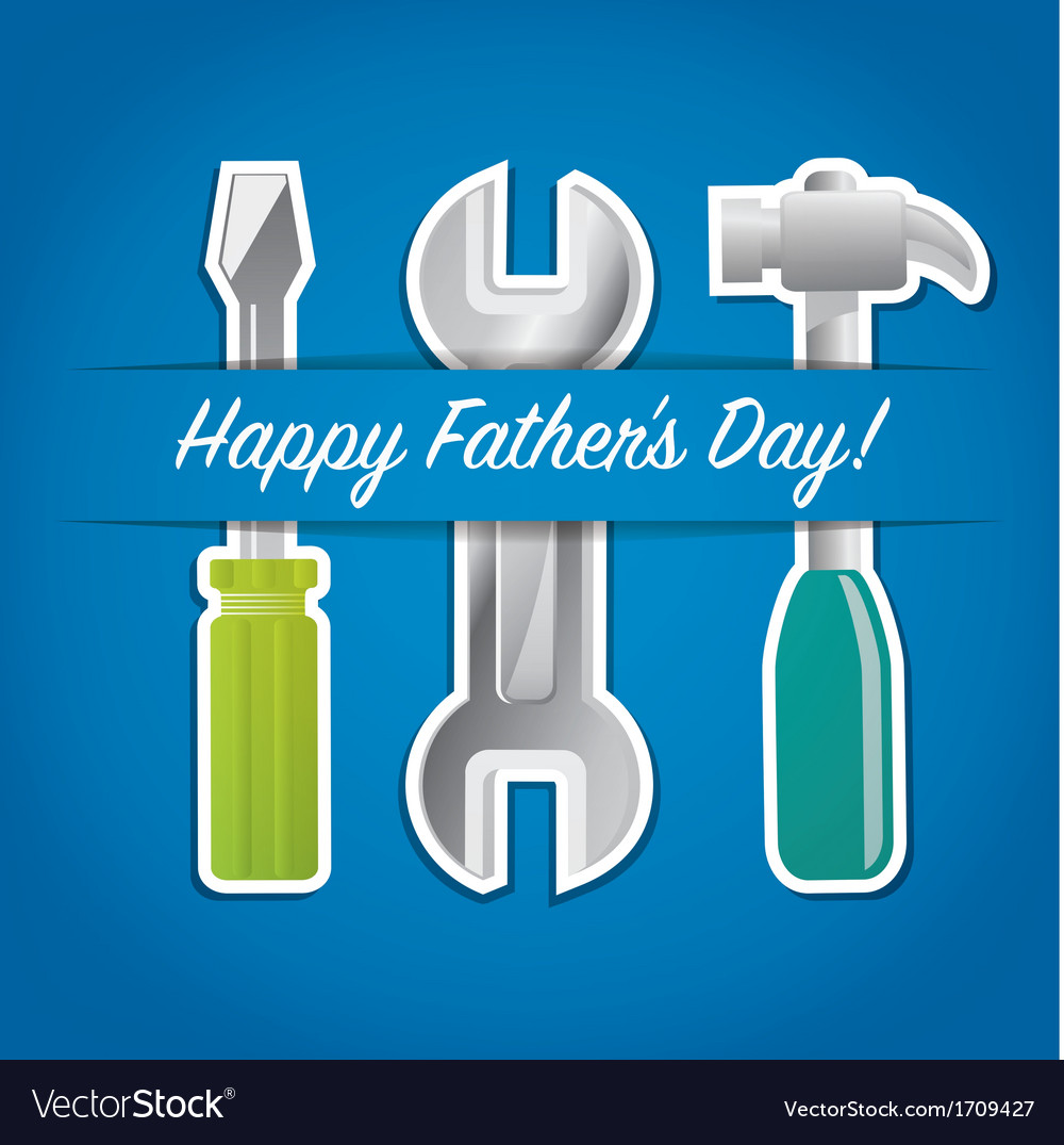 Paper cut out happy fathers day tool card in vector | Price: 3 Credit (USD $3)