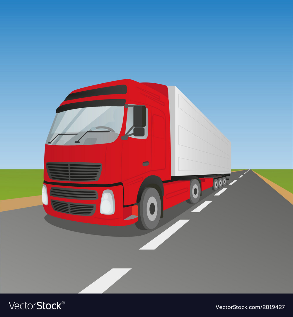 Red delivery truck vector | Price: 1 Credit (USD $1)