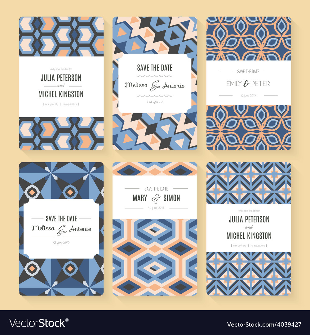 Save the date card collection vector | Price: 1 Credit (USD $1)