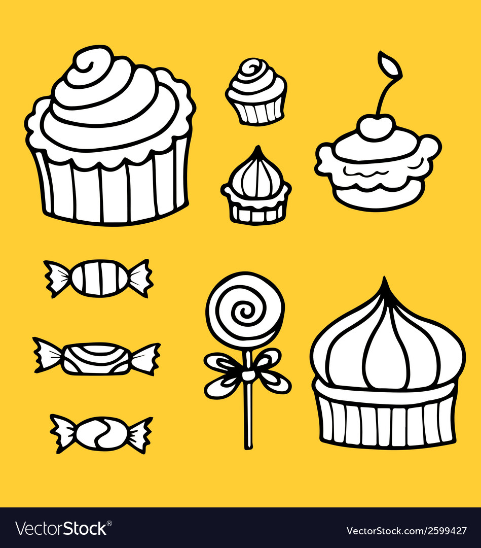 Set with sweets vector | Price: 1 Credit (USD $1)