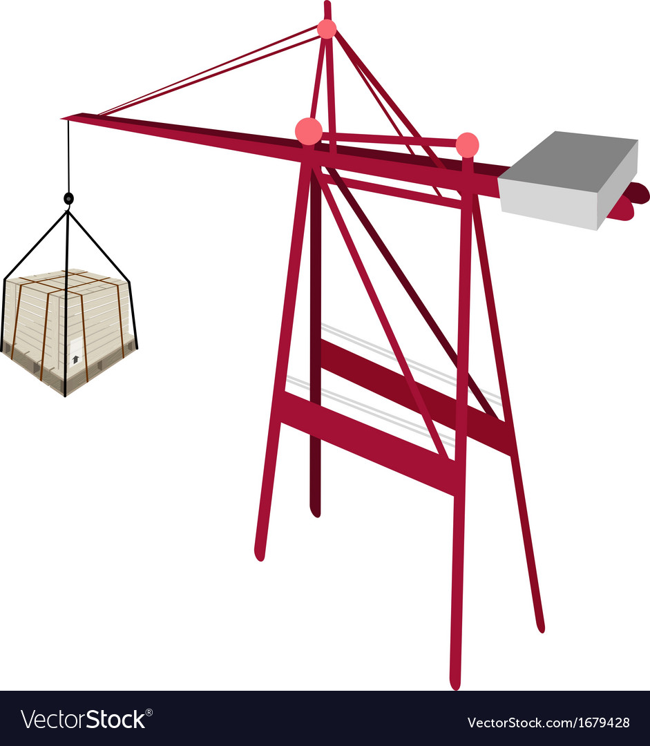 A shipping box being hoisted by a crane vector | Price: 1 Credit (USD $1)