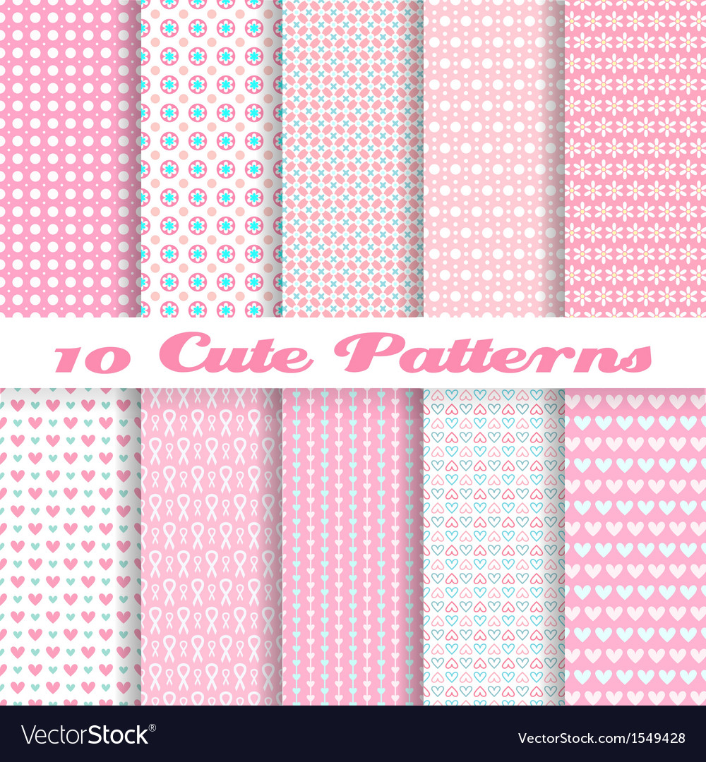 Cute different seamless patterns tiling pink color vector | Price: 1 Credit (USD $1)