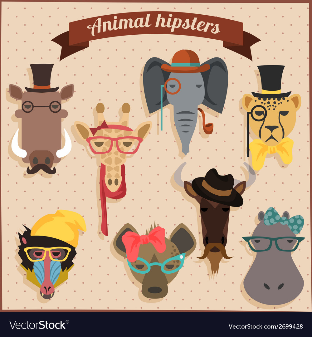 Cute fashion hipster african animals vector | Price: 1 Credit (USD $1)