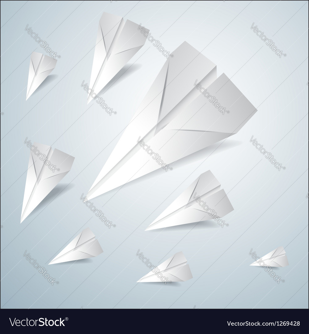 Folded paper airplanes set vector | Price: 1 Credit (USD $1)