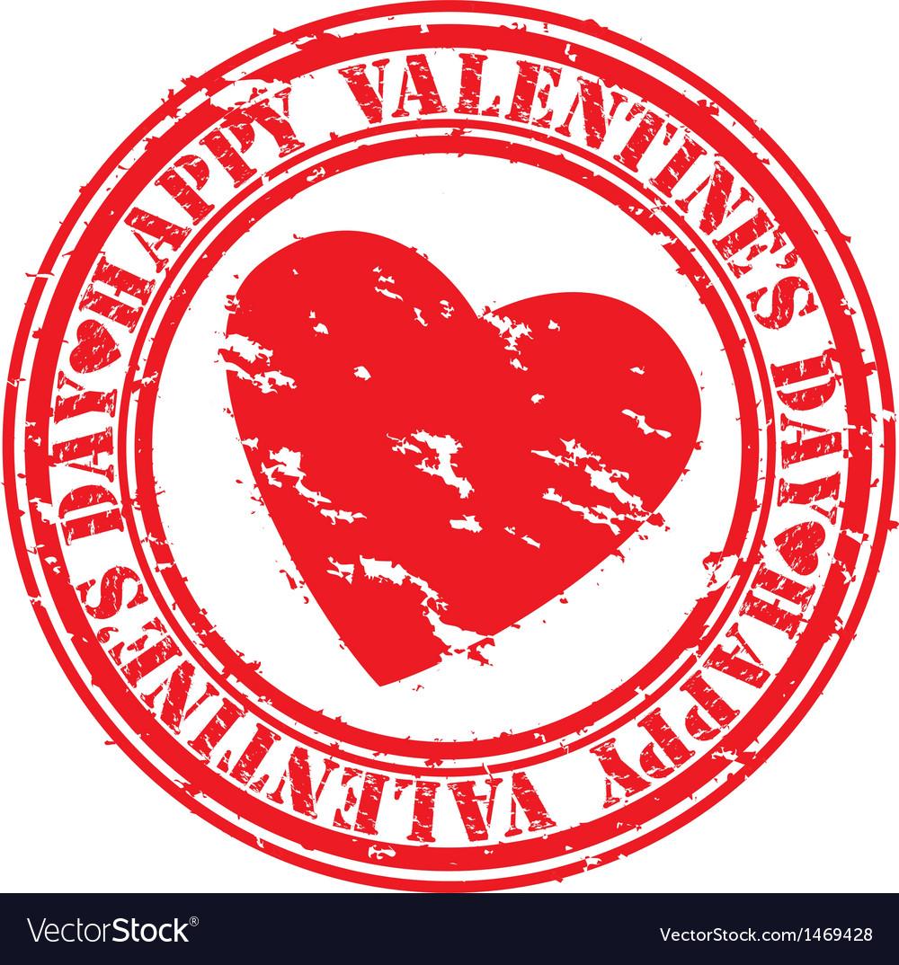 Happy valentines day stamp vector | Price: 1 Credit (USD $1)