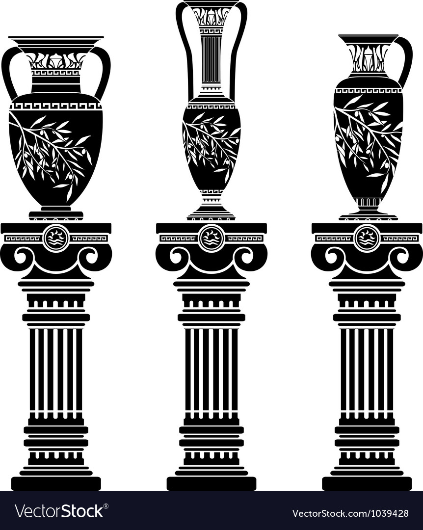 Hellenic jugs with ionic columns vector | Price: 1 Credit (USD $1)