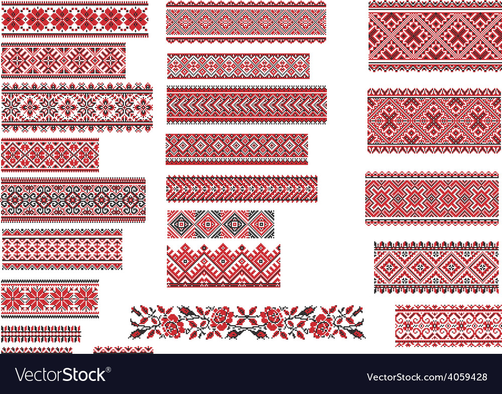 Patterns for embroidery stitch red and black vector | Price: 1 Credit (USD $1)