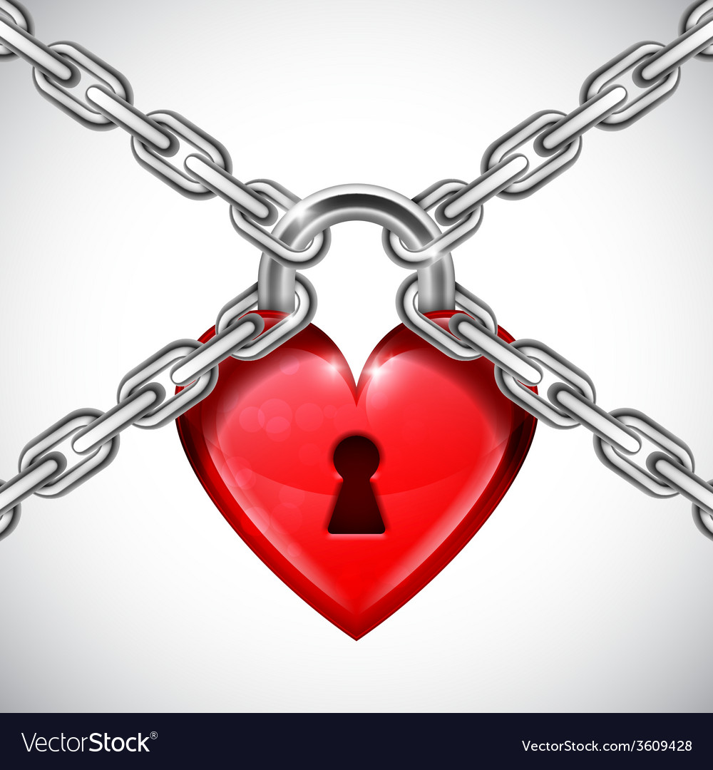 Red heart lock and chains vector | Price: 1 Credit (USD $1)