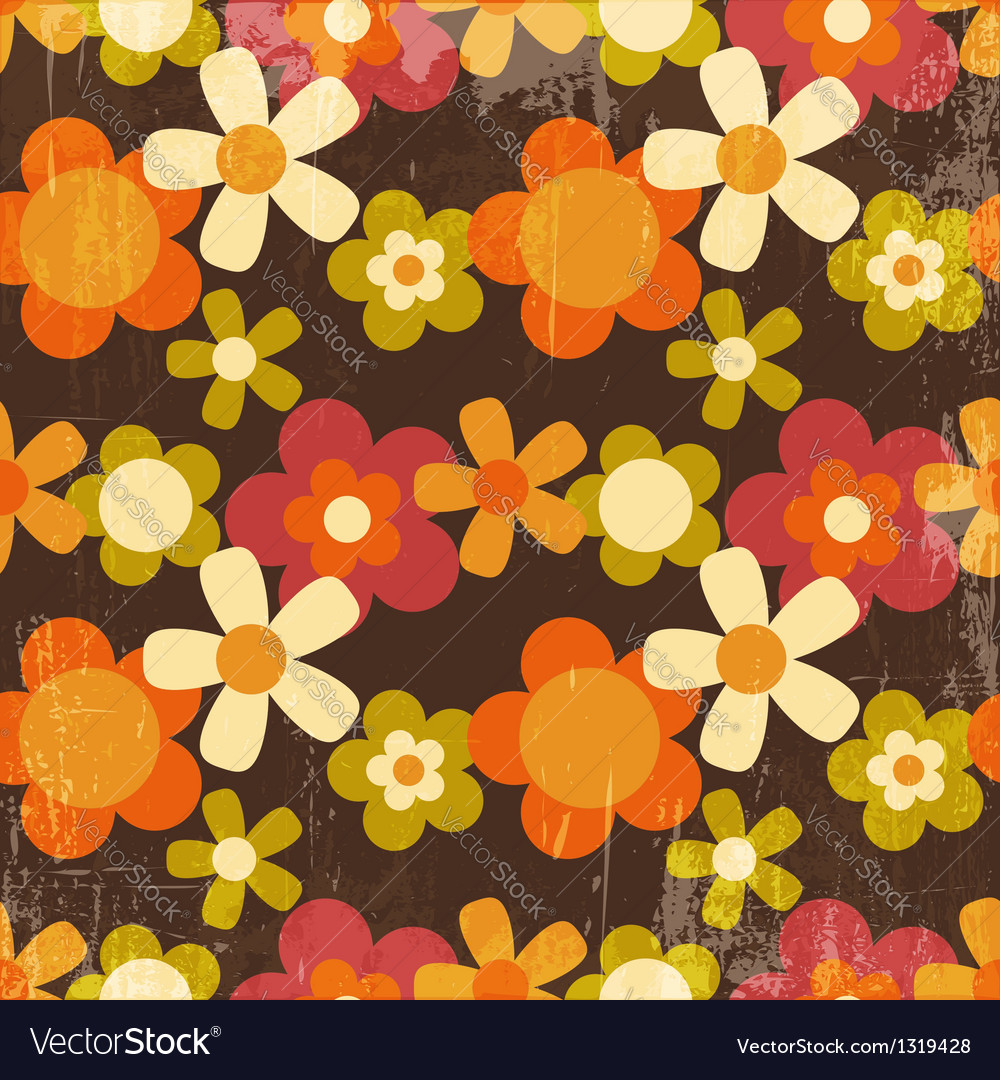 Retro style colorful flower seamless pattern vector | Price: 1 Credit (USD $1)