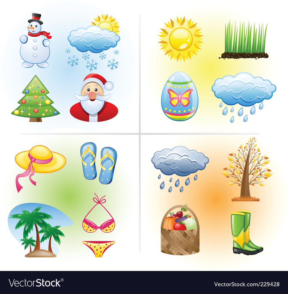 Seasons icons vector | Price: 3 Credit (USD $3)