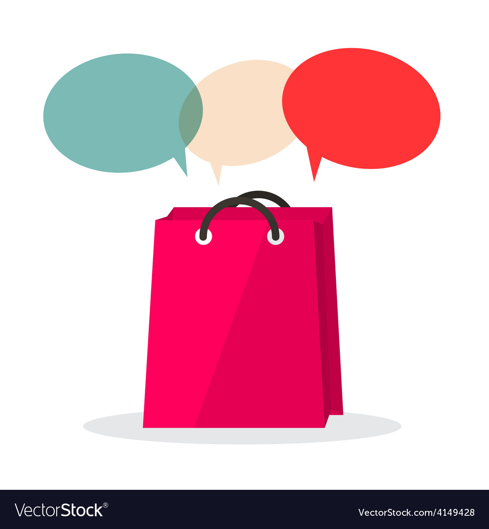 Shopping bag with empty speech bubbles isolated on vector | Price: 1 Credit (USD $1)