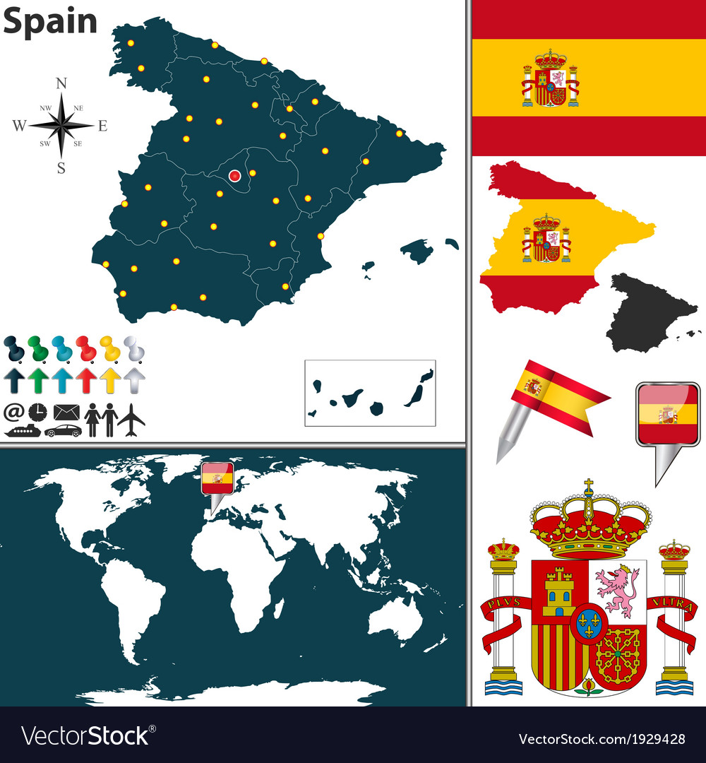 Spain map world vector | Price: 1 Credit (USD $1)